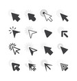 black cursor pointers click icons set on white vector image vector image