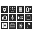 Black Photography equipment icons vector image vector image