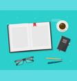 book or notebook diary open reading on learning vector image vector image