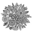 bouquet of hand drawn flowers leaves in ornate vector image
