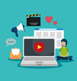 boy with laptop video and website information vector image