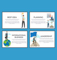 business collection of posters on blue background vector image vector image
