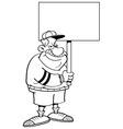 Cartoon coach holding a sign vector image vector image