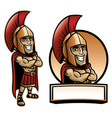 cartoon spartan army pose and smiling vector image vector image