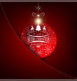 christmas red background with christmas ball and vector image vector image