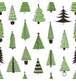 christmas trees hand drawn seamless pattern vector image vector image