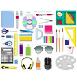 color set of office supplies vector image