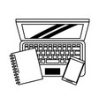 computer with book and cellphone vector image vector image