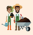 couple farmers wheelbarrow water can and plant vector image vector image