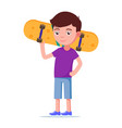 cute boy with a skateboard vector image vector image
