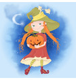 cute cartoon with girl witch vector image vector image