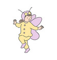 cute child girl in festive costume of butterfly vector image vector image