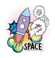 cute rocket with stars and clouds space vector image vector image