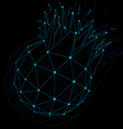 dimensional wireframe luminescent object with blue vector image vector image