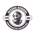 diving school underwater adventure title and vector image