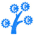 euro technology tree icon grunge watermark vector image vector image