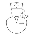 female nurse doctor outline icon with hat head vector image