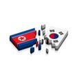 flag of north korea and south korea 3d vector image