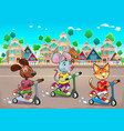 funny pets are riding scootertoys in the town vector image vector image