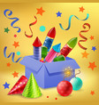 gift box firecrackers composition vector image