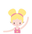 girl practice ballet with two buns hair design vector image