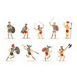 gladiators of roman empire era in historical armor vector image vector image