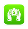 hand coin icon green vector image vector image