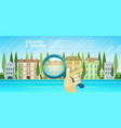 hand holding magnifying glass over cartoon houses vector image vector image