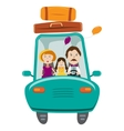 Happy family with daughter travelling by car vector image