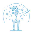 happy man doing a dub dance move vector image vector image