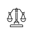 justice scales - line design single isolated icon vector image