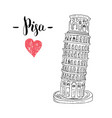 leaning tower pisa hand drawn sketch vector image