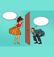 man and woman looking through a door voyeurism vector image vector image