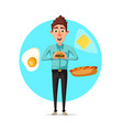man breakfast or fast food lunch flat icon vector image