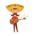 mexican boy with mustache and sombrero playing vector image