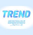 modern trendy font design alphabet blue glossy vector image