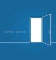 open door line concept blue room logo vector image vector image