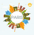 paris skyline with color buildings blue sky and vector image vector image