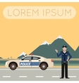Police on the road Banner6 vector image vector image
