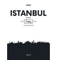 poster city skyline istanbul flat style vector image vector image