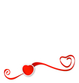 Red ribbons with heart vector image vector image