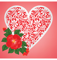 rose and lace heart vector image vector image