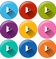 Round icons with play buttons vector image