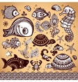set fish and flowers with ornaments vector image vector image
