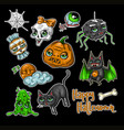 set halloween element patches vector image vector image