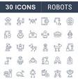 set line icons robots vector image