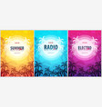 set of beautiful flyers for summer party radio vector image vector image