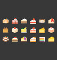 set of cake flat icon vector image vector image