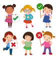 set of girls holding and doing right and wrong vector image vector image
