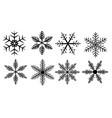 set silhouette snowflakes on a white background vector image